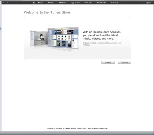 Click continue to move to the next step to create your iTunes App Store account.