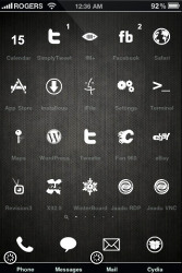 The iPhone SpringBoard after installing a theme thorugh WinterBoard