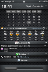 iPod/iPhone custom Lockscreen after Jailbreaking with weather, call and mail widgets