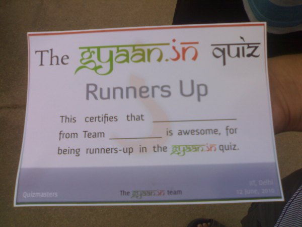 The Certificate (We received only 1)