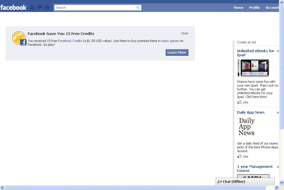 I got 15 free Facebok Credits