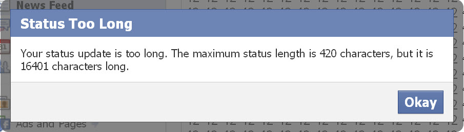 Your status update is too long. The maximum status length is 420 characters, but it is 877 characters long.