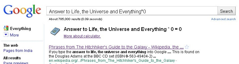 Answer to Life, the Universe and Everything * 0 = 0