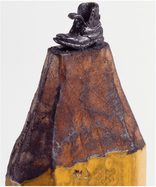 Carved from the graphite in a normal pencil: A highly-detailed boot