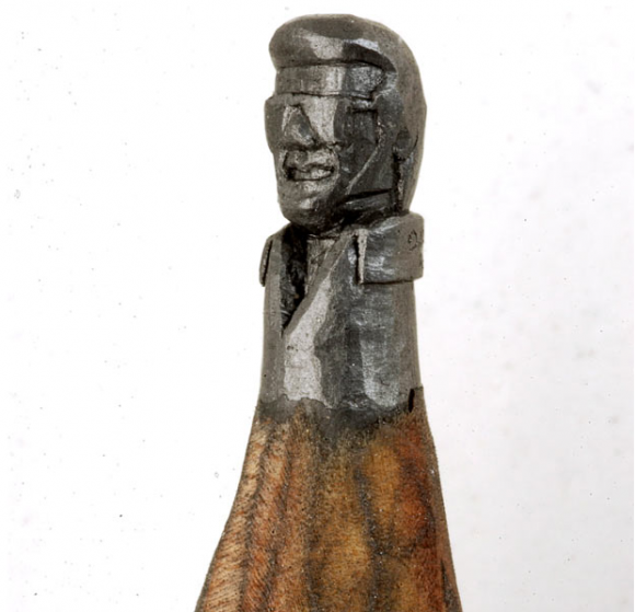 Dalton, who works as a carpenter, has been making his tiny graphite works for about 25 years. A sculpture of Elvis Presley wearing shades, carved from a single pencil.